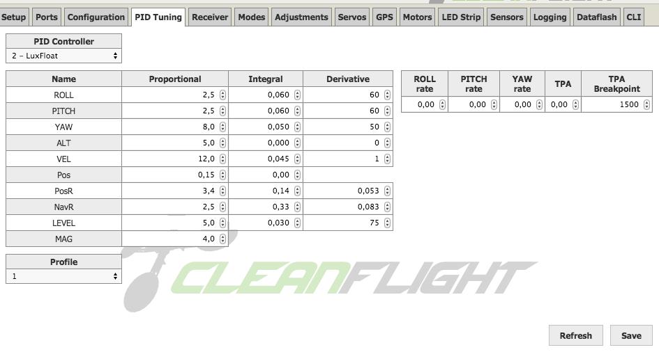 cleanflight pid defaults  luxfloat